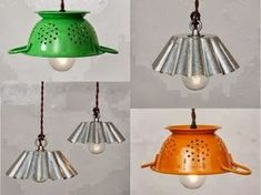 Be creative in your kitchen and repurpose your old kitchen items. Everyone at home have a lot of vintage stuff that are too old to be used. Kitchen Lamps, Old Kitchen, Kitchen Items, Kitchen Lighting, Kitchen Stuff, Kitchen Utensils, Kitchen Display, Nice Kitchen, Diy Luz