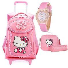 802e5acd4a Hello Kitty Children School Bags Mochilas Kids Backpacks With Wheel Trolley  Luggage For Girls backpack Mochila Infantil Bolsas