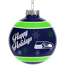 Seattle Seahawks Happy Holidays Glass Ball Ornament