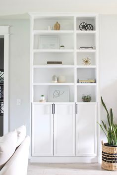 These are the best IKEA built-in hacks that will save you money! Custom built-ins can cost a fortune, save money with these IKEA hacks. Ikea Hack Storage, Ikea Billy Bookcase Hack, Built In Bookcase, Billy Bookcases, Billy Bookcase With Doors, Billy Bookcase Office, Ikea Living Room Storage, Ikea Office Storage, Billy Regal Hack