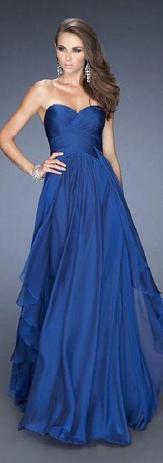 Embellished Natural Chiffon A-Line Royal Blue Long Prom Dresses Sale tkzdresses14852nkj #longdress #promdress