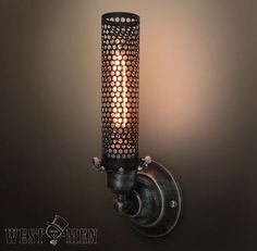 Vintage Metal Mesh Wall lamp Industrial Wall by HandmadeLampWorks, $58.80