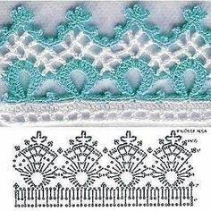 Crochet spouts with graphics Crochet Border Patterns, Crochet Boarders, Crochet Bedspread Pattern, Crochet Bikini Pattern, Crochet Lace Edging, Crochet Chart, Thread Crochet, Filet Crochet, Irish Crochet