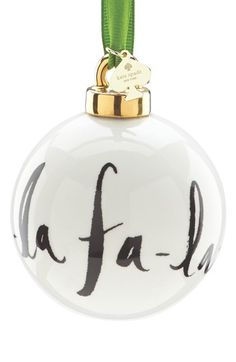 Free shipping and returns on kate spade new york 'fa-la-la' globe ornament at Nordstrom.com. Trim the tree with a charming globe ornament that knows the words to your favorite carol. The charm-strung ribbon brands it a kate spade new york original.