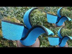How to make 3d origami wing vase v2 | DIY paper flower vase at home , home decoration - YouTube