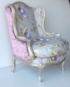 Wingchair available to order in any fabric from www.zinc-interiors.co.uk #wingchair #prettyfloral #elegant This wingchair's fabric and finish was chosen by interior designer Marie Stacey