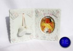 Vintage-Russ-Berrie-034-Baby-Blessing-034-Porcelain-034-It-039-s-A-Girl-034-2-034-x3-034-Photo-Frame