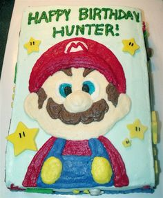 Sheet cake and cupcakes perfect for a party! .  Decorate a character cake in under 180 minutes by baking and decorating food with fondant, cupcake, and buttercream icing. Inspired by super mario. Creation posted by Melinda H. Difficulty: 3/5. Cost: Cheap.