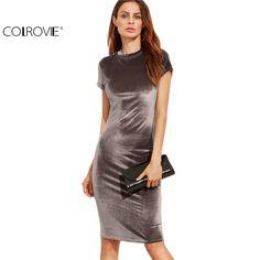 COLROVIE Velvet Sheath Dress Office Ladies Round Neck Slim Pencil Dress Work Wear Knee Length Dress