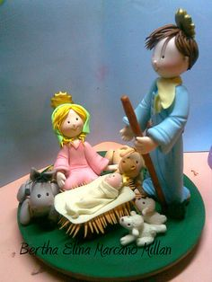 Pesebre en MASA FLEXIBLE Nativity Crafts, Holiday Crafts, Nativity Sets, Winter Christmas, Christmas Ornaments, Play Clay, Theme Noel, Fondant Figures, Polymer Clay Projects