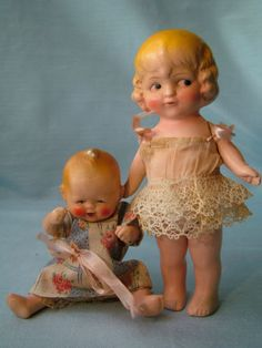 2 Antique German Painted Bisque Dolls Big Sister Little Baby Brother Dressed!