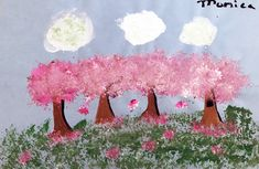 Cherry Blossoms, 2007 (Age Acrylic on paper 18 by 24 inches The mark-making in this piece is very consistent, repetitive and clearly shows the paint. Mark Making, Cherry Blossoms, Shutter Speed, Color Schemes, Clouds, Age, Deviantart, Natural