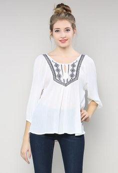 Embroidery Ethinic Top | Shop Tops at Papaya Clothing