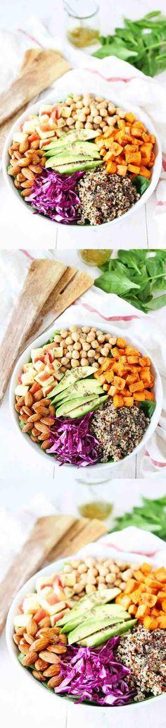 almond, apple, avocado, balsamic, black pepper, chickpea, healthy, honey, lemon, potato, quinoa, recipes, salad, valentine, vegan