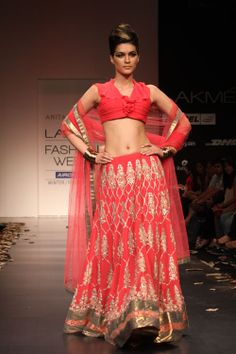 Anita Dongre  A HEAVY EMBORIDERED LEHENGA IN PURE GEOGREGTTE ADDED WITH SEQUENCED BORDER WITH A DRAPED NICE PLEATED CHOLI AND A NET DUPATTA WITH DELICATE EMBROIDERY AND BORDER