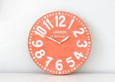 Vintage clock -London coral-  birch clock hand painted by happy fresh coral color. €57.00, via Etsy.