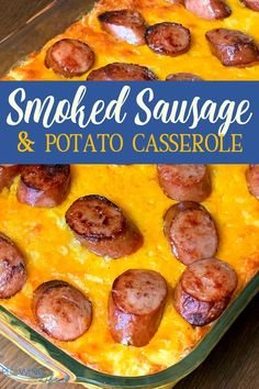 Smoked Sausage and Cheesy Potato Casserole is a combination of one of our favorite meats and our best potato casserole! We created this easy smoked sausage recipe that our family really enjoys eating for dinner! The men especially love the smoked sausag Polish Sausage Recipes, Sausage Recipes For Dinner, Smoked Sausage Recipes, Smoked Sausage Potatoes Recipe, Smoked Potatoes, Smoked Sausages, Sausage Meals, Meat And Potatoes Recipes, Hashbrown Casserole