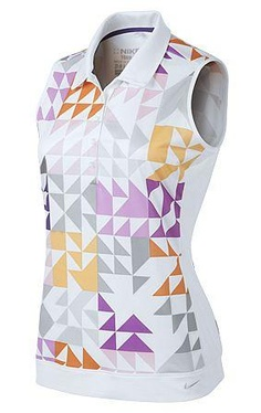 2013 Nike Golf Ladies Swing Graphic Sleeveless Polo Color White Golf Wear 315a031be421
