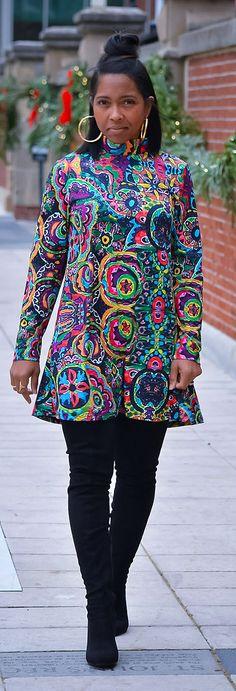 Colorful Dress, OTK Boots, Swing Dress, Fall Outfit Idea, Dress, Vintage Print