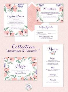 Faire-part Décoration mariage rose et lavande - Collection Anémone et Lavande