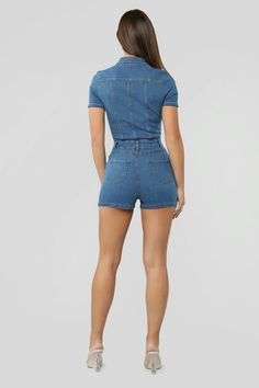 Sent With Love Denim Romper - Medium Wash – Fashion Nova Denim Romper Shorts, Romper Outfit, Girl Fashion, Fashion Outfits, Denim Outfits, Fasion, Blazers, Fashion Nova Models, Nice Legs