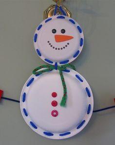 Lace a Paper Plate Snowman Activity
