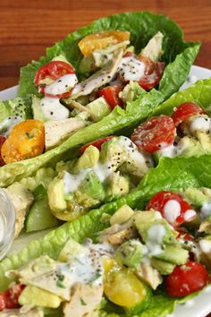 Chicken and Avocado Lettuce Boats with Buttermilk Dijon Dressing