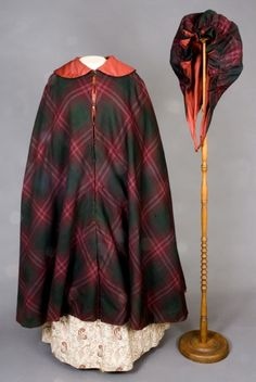 Plaid cape & bonnet, 1850 - 1860's, wool and silk.