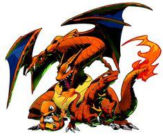 Pokemon art of Charmander, Charmeleon and Charizard. Pokemon One, Pokemon Charmander, Pokemon Fan Art, Charizard, Pokemon Starters, Fanart, Creature Design, Digimon, Game Character