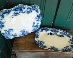 Antique flow blue ironstone platters, set of 2, transferware, blue and white with gold band