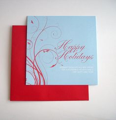 Red Swirls Happy Holidays Cards 10-pack by BlueIrisStudio on Etsy