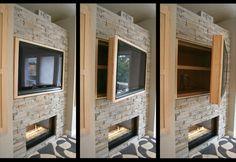 Hidden Storage + Swinging TV Cabinet Love this idea!