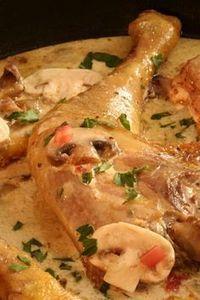 cuisses de poulet aux champignons et vin blanc