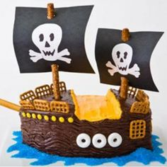 How to make a pirate ship birthday cake with boxed cake mix. Easy, step-by-step recipe, diagrams and pictures