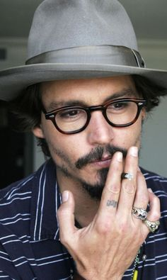 Johnny Depp, male actor, glasses, hat, beard, thoughtful, deep thoughts, fingers, hand, sexy guy, steaming hot, celeb, famous, portrait, photo
