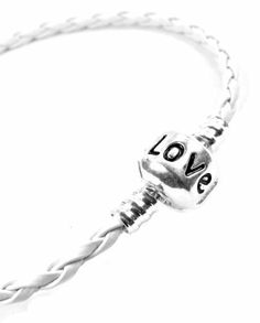 "White 8"" Inch Pandora  &  Chamilia Compatible 'Love' Charm Starter Bracelet, Braided Woven Leather, Tarnish-Resistant Silver Plated Snap Box Barrel Clasp"