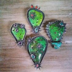 All together for scale. #Cactus #Cactusflower #necklace #pins #artwear #Enamel…