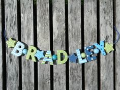 BRADLEY WOODEN LETTER DOOR NAME DECORATION PERSONALISED SHABBY CHIC BABY NURSERY