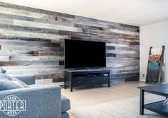 Tobacco Barn Grey living room entertainment wall.