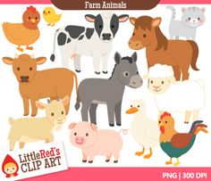 meat and dairy - farm animals clip art