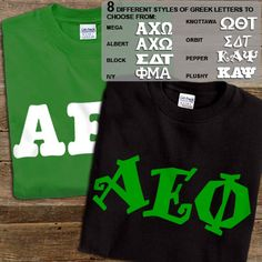 Get 2 Alpha Epsilon Phi printed t-shirts for almost the same price as getting one! 8 fonts and multiple colors to choose from.
