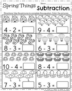 best subtraction kindergarten images  teaching math  kindergarten math and literacy printables  april