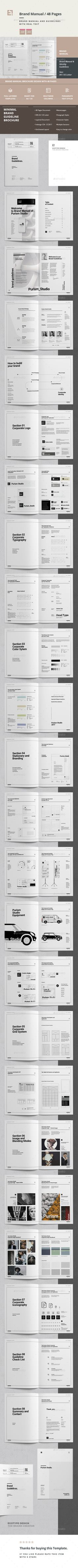 Brand Manual and Identity Template ¨C Corporate Design Brochure ¨C with real text! Minimal and Professional Brand Manual and Ident Travel Brochure Template, Branding Template, Bi Fold Brochure, Corporate Brochure, Corporate Design, Brochure Design, Stationery Design, Branding Design, Corporate Identity