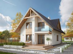 Projekt domu Sopran - php developer info Home Building Design, Home Design Plans, Building A House, House Design, Rustic Houses Exterior, Dream House Exterior, Dream House Plans, Future House, Style Cottage