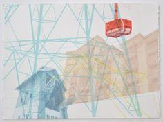 Untitled (Chamonix series) x 77 cm Screenprint, 2013 ©Emily Moore Printmaking, Schools, Screen Printing, Buildings, Graphics, City, Prints, Screen Printing Press, Graphic Design