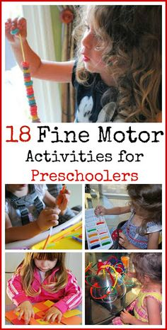 18 Fine Motor Activities for Preschoolers. 18 Fine Motor Activities for Preschoolers. Motor Skills Activities, Craft Activities For Kids, Educational Activities, Fine Motor Skills, Learning Activities, Preschool Activities, Educational Websites, Science Crafts, Cognitive Development Activities