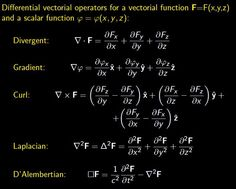 Differential vectorial operators Theoretical Physics, Physics And Mathematics, Quantum Physics, Engineering Science, Electronic Engineering, Science And Technology, Physics 101, Physics Formulas, Math Skills