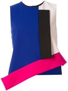 MSGM asymmetric colour block top
