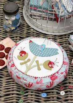 Lilly's Bluebird Pincushion - Hatched and Patched