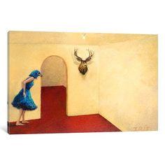 "Latitude Run Blue Bird Painting Print on Wrapped Canvas Size: 40"" H x 60"" W x 1.5"" D"